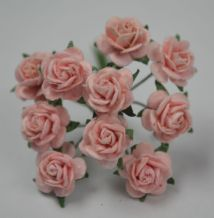 1 cm PEACH PINK Mulberry Paper Roses